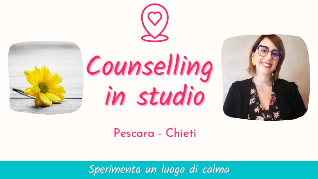 Counselling in studio: sperimenta un luogo di calma. Scegli il tuo percorso di counseling, volto al benessere e alla crescita personale in studio a Pescara/Chieti in Abruzzo. Chiama il 329.2236261 per prendere un appuntamento.